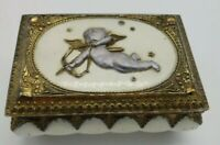Vintage KA Trinket Box Cupid On Top Color Is Gold And Ivory White