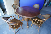 Vintage American Antique Circa 1900s Oak Dining Table LION head Claw Foot 4chair