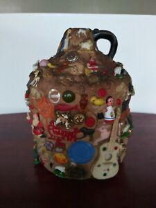 Vintage Memory Jug Crock Circa 1930s Memories Trinkets Estate Find Folk Art VTG