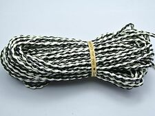 32.8 Feet Black and White BOLO Braided Leatheroid String Jewelry Cord 3mm