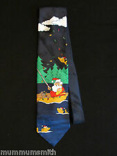 Men's Christmas Tie Santa Fishing  Neckties Fish Boat Lights Pole