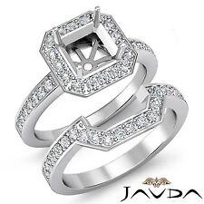 Diamante de Compromiso Anillo Redondo Asscher Novia Juegos 18Ct Oro Blanco