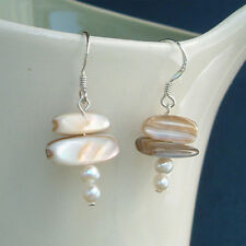 Bridal Beach Wedding Jewelry Shell Freshwater Pearl Sterling silver Earrings New