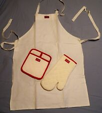 1995 JC Penney COOKS Apron Oven Mitt and Pocket Pot Holder 3 Piece Set ~ NEW