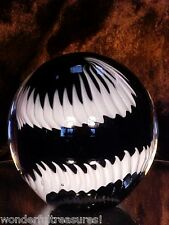 BEAUTIFUL Vintage Black & White Murano Glass Globe Ball Paperweight Italy HUGE!