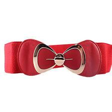 Women Stretch Buckle Waist Belt Bow Wide Dress Elastic Corset Waistband Cinch US