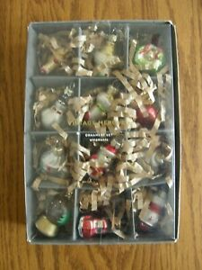 Set 12:Pottery Barn Mercury Glass Nostalgic Vintage Mini Christmas Ornaments-New