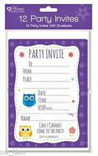 12 OWL INVITATIONS PARTY INVITE CARDS birthday boy girl kids Animals