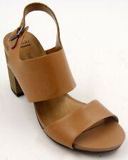 Clarks Brown Leather Women' Sling Back Heel Sandals Sz 8 Wide EUC