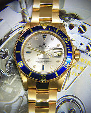 Rolex Submariner Date 18k Yellow Gold Slate Serti Dial Blue Bezel Watch 16618 T