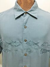 Quiksilver Mens M Blue Embroidered Fish Short-Sleeve Polynosic Rayon Shirt