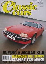 Classic Cars 09/1990 featuring Jaguar XJS, Lagonda, AC, Triumph, Citroen, Rover
