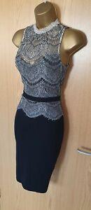 Lipsy Kardashian Kollection Black Lace Trim High Neck Bodycon Pencil Smart Dress