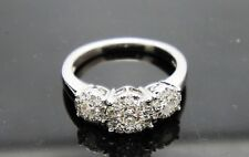 1 TCW Three Stone Damond Cluster, 14 Kt. White Gold Engagement Ring
