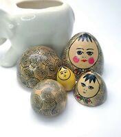 Unique Vintage Russian Nesting Dolls Egg Shaped Man  Signed