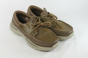 Size 10 USED Skechers Men Brown Leather Relaxed Fit Menson Slip On Moc Shoe