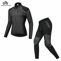 Men's Long Sleeve Cycling Jersey Pants Set Fleece Bicycle Clothing Suit Winter