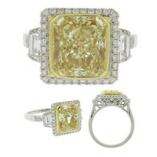 Platinum Engagement Ring Fancy Yellow 6.50 Carat GIA Cushion Cut Diamond