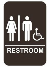 "6"" x 9"" ADA Compliant Restroom Sign Braille Unisex Handicap Wheelchair Black"