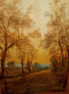 LISTED ARTIST GEORGE H. FLAVELLE ANTIQUE WATERCOLOR PAINTING ORIGINAL LANDSCAPE