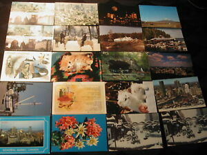 World Mixed 100 Postcards postmarked & unused Canada, Islands 1980s