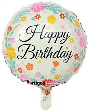 "Floral Happy Birthday round foil balloon 18"" 45cm cream mother mum grandma woman"