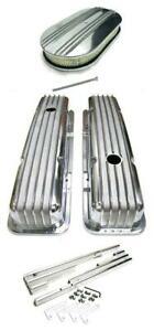 """SBC Chevy Polished Aluminum Finned Valve Covers + Wire Loom & 15"""" Air Cleaner"""