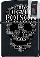 Zippo CM1312 RARE Death Skull Of Words Black Matte Lighter + FLINT PACK