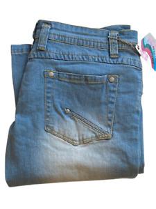 Ladies Flare Denim Jeans Low Rise Zip Front Bright Blue Wash