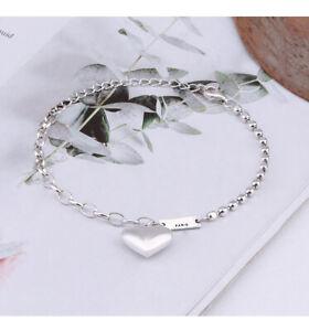 B32 Bracelet Cœur Avec Mélange De Chaîne D'Ancre Et Pois 925 Argent Sterling