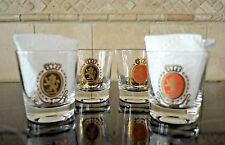 Vintage Bar Glasses Low ball Rock Glasses w/ Gold  Lion Emblem set of 4