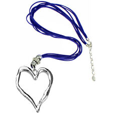 Lagenlook large silver heart pendant blue leather suede long fitting necklace