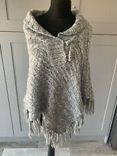 Joe Browns Grey Chunky Knitted Poncho With Tassels Size Medium