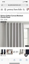 """Two Pottery Barn Kids Quincy Cotton Canvas Blackout Curtain Panels """"44x64� Gray"""