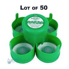Lot of 50, 3 & 5 Gallon Water Bottle Snap On Cap Anti Splash 55mm Peel Off GREEN