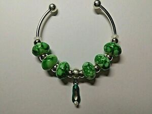 Childs Silver Bangle -TINKERBELL -With Enamel SHOE and 6 GREEN Beads