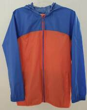 Lands End Navigator Rain Jacket L 14 16 Blue Orange Hood Packable Coat