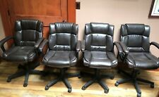 New Listingconference Room Chairs Set Of Four Brown Tilt Swivel And Height Adjustable