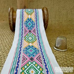 Ethnic Chinese Embroidered Geometric Ribbon Tape Tribal Multicolour M1918