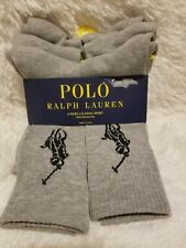 6 PACK POLO RALPH LAUREN MENS GRAY 6-12½ BIG PONY CREW CLASSIC SPORT SOCKS NWT