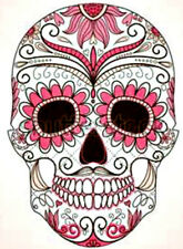 20  WATER SLIDE NAIL ART  DECAL TRANSFERS PINK SUGAR SKULL WITH BLACK EYES