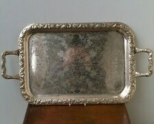 "Antique Edwardian (1900-10) ""Sheffield Plated Silver"" Large Tray (With Handles)."