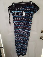NEW NWT Cuddle Duds Ladies Pajama Bottoms Size 3X, Black blue pattern pockets
