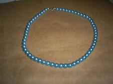 "COSTUME JEWELRY 16"" NECKLACE PEARLS AQUA BLUE 1/4""  ROUND BEADS"