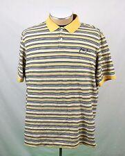 Phat Farm Men's Size L Yellow Blue Striped Short Sleeve 3 Button Polo Shirt EUC