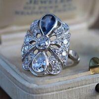 Art Deco 925 Silver Blue sapphire White Diamond Vintage Antique Engagement Ring