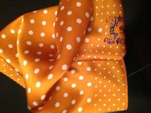 """New 14"""" Satin 100% Silk Pocket Square  Burnt Orange Polka-D6"""
