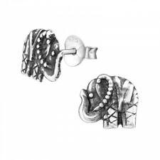 925 Sterling Silver Elephant Stud Earrings Bali Boho Hippy in Gift Box