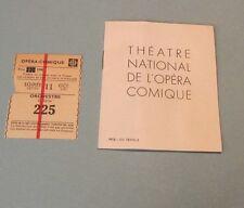 1945 Paris Theatre National De L'Opera Comique La Boheme Program and Ticket