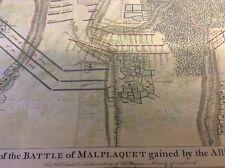 Antique map of Battle of Malplaquet,1709.. hand coloured. published 1740's